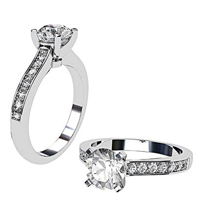 Open V Claw Round Diamond Engagement Ring 1 4