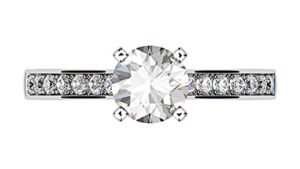 Open V Claw Round Diamond Engagement Ring 2 3