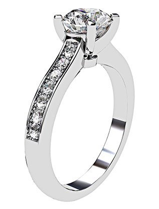 Open V Claw Round Diamond Engagement Ring 4 3