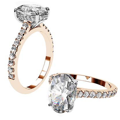 Oval Cut Diamond Ring with Hidden Halo 1 2