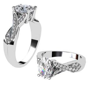 Oval Cut Diamond Ring with Woven Diamond Set Band 1 2
