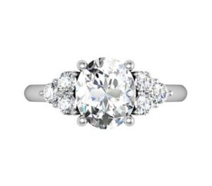 Oval Diamond Engagement Ring with Cluster Side Diamonds 2 2