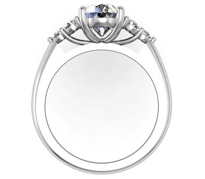 Oval Diamond Engagement Ring with Cluster Side Diamonds 3 2