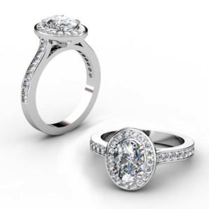 Oval Diamond Halo Engagement Ring with Channel Set Diamond Band 1 2