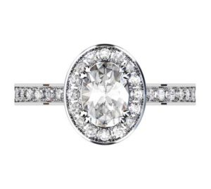 Oval Diamond Halo Engagement Ring with Channel Set Diamond Band 2 3