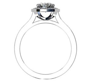 Oval Diamond Halo Engagement Ring with Channel Set Diamond Band 3 3