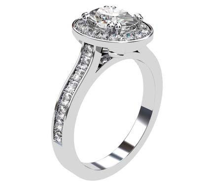 Oval Diamond Halo Engagement Ring with Channel Set Diamond Band 4 3