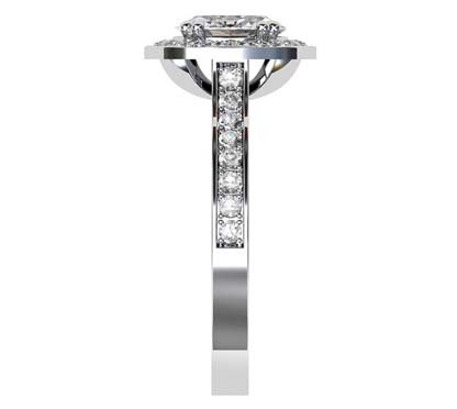 Oval Diamond Halo Engagement Ring with Channel Set Diamond Band 5 3