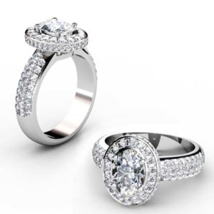 Oval Diamond Halo Engagement Ring with Wide Diamond Band 1 3