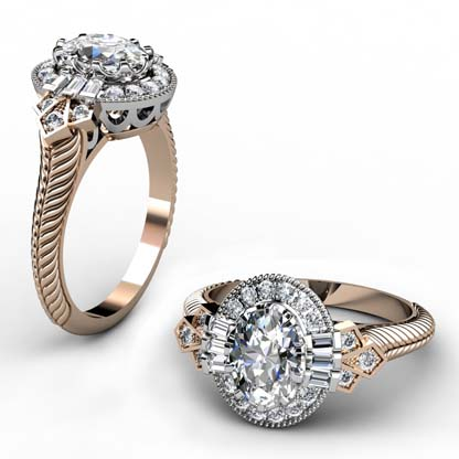 Oval Diamond Yellow Gold Halo Engagement Ring with Fluted Band 1 2