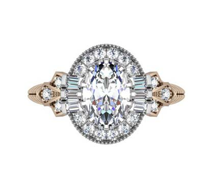 Oval Diamond Yellow Gold Halo Engagement Ring with Fluted Band 2 2