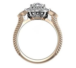 Oval Diamond Yellow Gold Halo Engagement Ring with Fluted Band 3 2