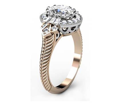 Oval Diamond Yellow Gold Halo Engagement Ring with Fluted Band 4 2