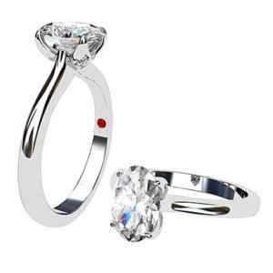 Oval Petal Four Claw Single Stone Diamond Ring 1 2
