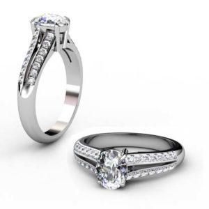 Oval Shaped Diamond Engagement Ring with Diamond Split Shank 1 2