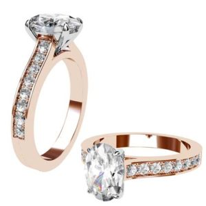 Oval Shaped Diamond Rose Gold Engagement Ring with Side Stones 1 2