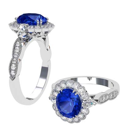 Oval Shaped Sapphire Halo Engagement Ring with a Vintage Feel 1 2