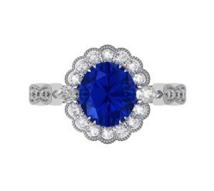 Oval Shaped Sapphire Halo Engagement Ring with a Vintage Feel 2 2
