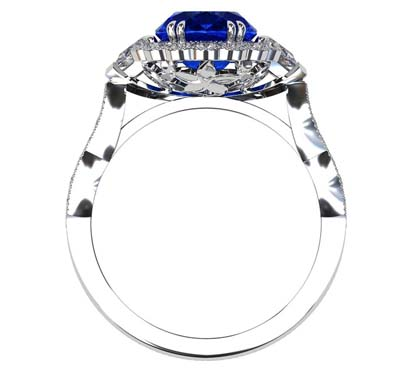 Oval Shaped Sapphire Halo Engagement Ring with a Vintage Feel 3 2