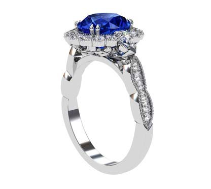 Oval Shaped Sapphire Halo Engagement Ring with a Vintage Feel 4 2