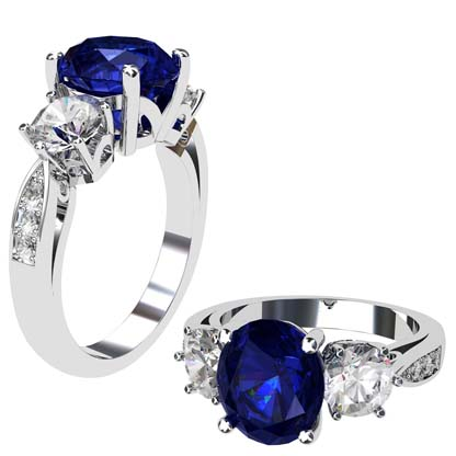 Oval Shaped Sapphire Three Stone Engagement Ring 1 2
