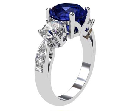 Oval Shaped Sapphire Three Stone Engagement Ring 4 2