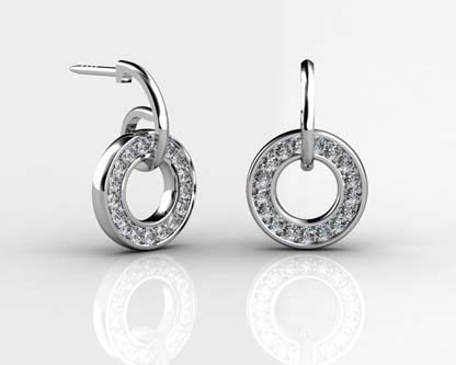 Pave Set Circle of Diamond Earrings 1 2