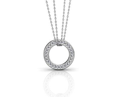 Pave Set Circle of Diamonds Pendant 1 2
