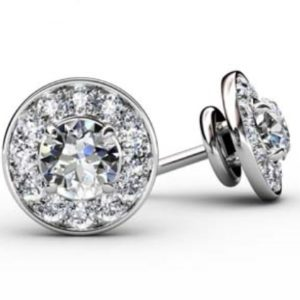 Pave Set Diamond Halo Earrings 1 1 2