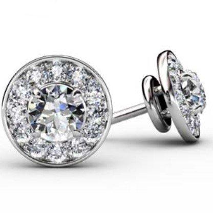Pave Set Diamond Halo Earrings 1 1 2