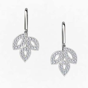 Pave Set Diamond Leaf Drop Earrings 1 2