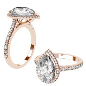 Pear Cut Diamond Halo Rose Gold Engagement Ring with Cut Down Diamonds on the Half Band 1 2