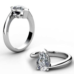 Pear Cut Solitaire Engagement Ring with Twisted Band 1 2
