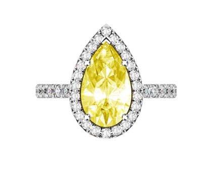 Pear Cut Yellow Diamond Halo Ring 2 2