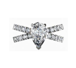 Pear Shape Diamond Engagement Ring with Crossover Band 2 2