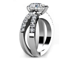 Pear Shape Diamond Engagement Ring with Crossover Band 4 2