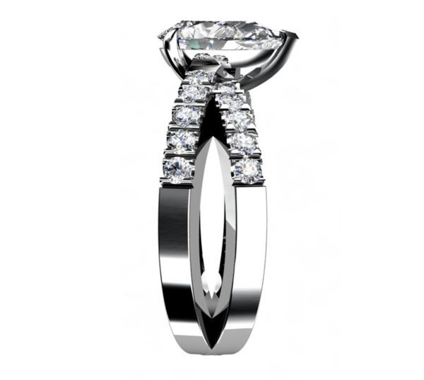 Pear Shape Diamond Engagement Ring with Crossover Band 5 2