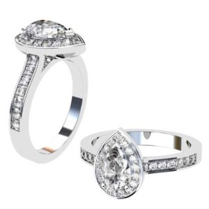 Pear Shape Diamond Halo Engagement Ring 1 2