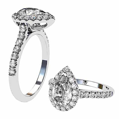Pear Shape Halo Diamond Ring With Unique Basket 1 2