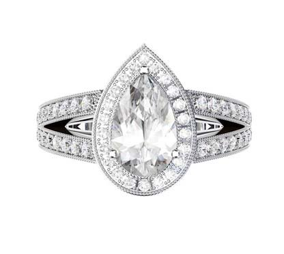 Pear Shaped Diamond Halo Engagement Ring with Split Shank and Milgrain Beading 2 2