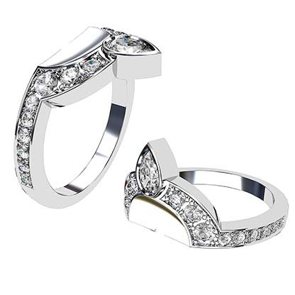 Pear and Round Diamond Fitted Wedding Band 1