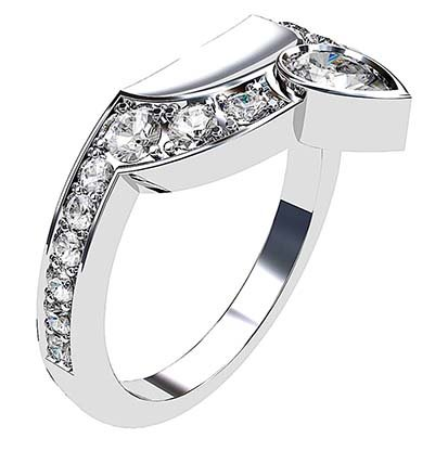 Pear and Round Diamond Fitted Wedding Band 3