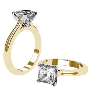 Petal Style Princess Cut Solitaire Diamond Ring 1 2