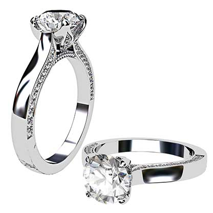 Petal Style Round Brilliant Cut Diamond with Pave Edged Band 1 2