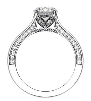 Petal Style Round Brilliant Cut Diamond with Pave Edged Band 3 2