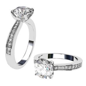 Petal Style Round Solitaire With Pave Band 1 2
