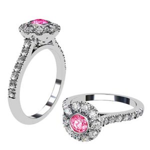 Pink Diamond Ring with White Diamond Halo 1 1