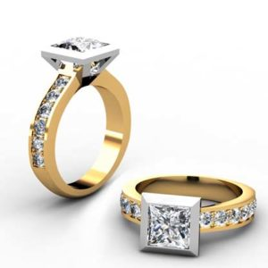 Princess Cut Diamond Bezel Set Yellow Gold Engagement Ring 1 2