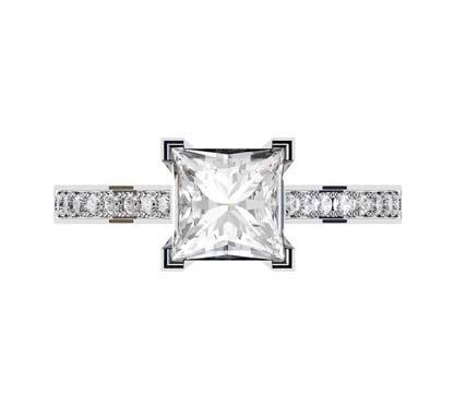 Princess Cut Diamond Engagement Ring with Diamond Basket and Band 2 2