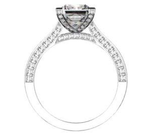 Princess Cut Diamond Engagement Ring with Diamond Basket and Band 3 2